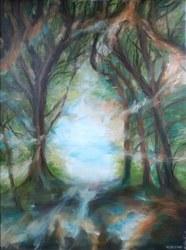 Huile sur toile Au-delà du chemin de Pitet (Marie Melebeck)