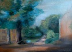 Huile sur toile Devant le tilleul de Ville-en-Hesbaye (Marie Melebeck)