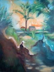 Huile sur toile En route pour le moulin d'Avennes (Marie Melebeck)